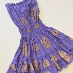 Strapless Tiered Dress Light Purple & Gold